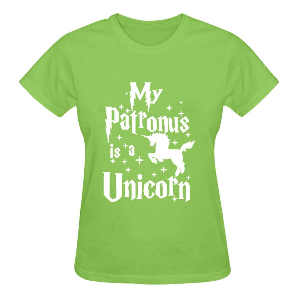 AolaZW Women My Patronus Is An Unicorn Soft Cotton Short Sleeve T-Shirt