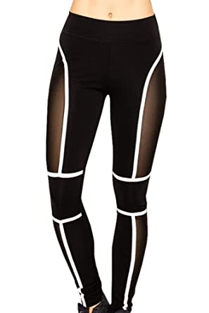 9d19a79a4c1ac Runner Island Womens Cyberspace Workout Leggings Sexy Mesh High Waist Tummy  Control Compression Black White (