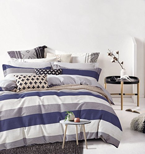 Cabana Stripe Modern Duvet Cover 100-Cotton Twill Bedding Set Geometric White and Navy Distressed Rugby Stripes Print in Dusty Blue Shades Reversible (King, Dusty Blue/Raisin) ()