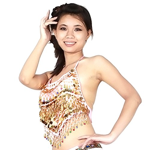 [Jlong Women Sequin Beads Bells Top Gold Coins Belly Dance Top Clothes] (Tribal Costumes Of India)