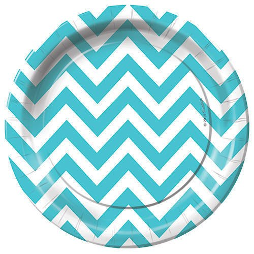 Teal Blue Chevron Dessert Party Plates Pack of 8 (Chevron Blue Dessert Plates)