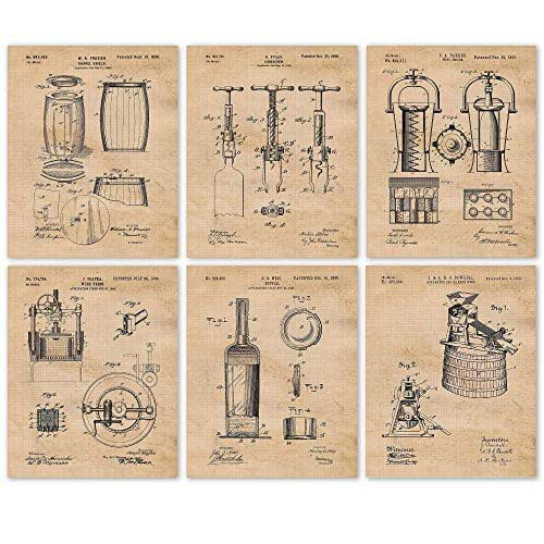 Wine Bottle Vintage Vino Patent Wall Art Print Decor Size and Frame Options