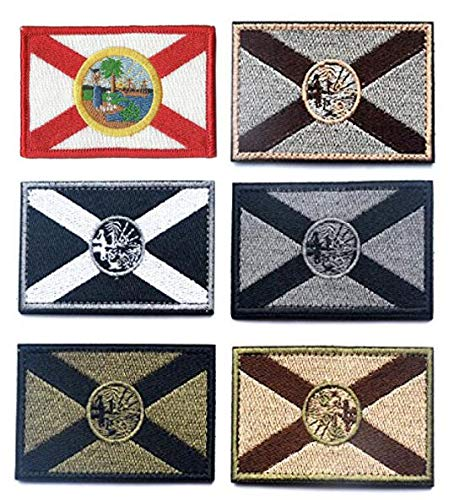 Antrix 6 Pieces Florida State Flag Patch Hook & Loop Tactical Military Morale Florida Patch Set for Caps,Bags,Backpacks,Clothes,Vest,Military Uniforms,Tactical Gears ()