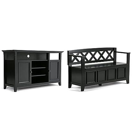 Amazon.com: Simpli Home Amherst TV Media Stand, Black + Simpli Home ...