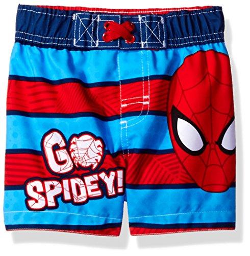 [Marvel Baby Little Boys' Spiderman Infant Swim Trunk, Blue, 12M] (Blue Spiderman Suit)