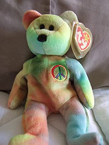 Peace the Neon Ty-Dyed Teddy Bear - MWMT Ty Beanie Babies - Retired Beanie Babies
