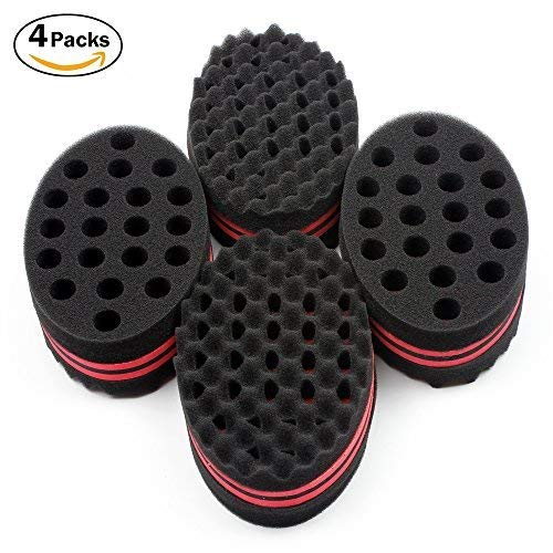 HALLO Big Holes Hair Brush Sponge Twist Wave Barber Tool For Dreads Afro Locs Twist Curl Coil Black(4 Packs) by HALLO