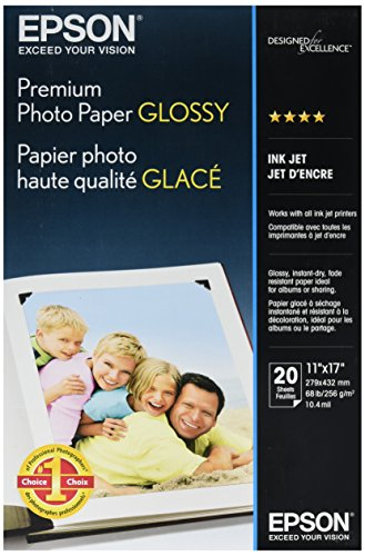 Epson Premium Photo Paper, 68 lbs, High-Gloss, 11 x 17, 20 Sheets/Pack