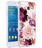 BAISRKE Galaxy Grand Prime Case, Galaxy J2 Prime Case with Flowers Slim Shockproof Clear Floral Pattern Soft Flexible TPU Back Cove for Samsung Galaxy Grand Prime G530/J2 Prime [Purple Pink]