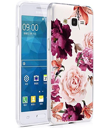 82e69ed38e4 Galaxy Grand Prime Case, Galaxy J2 Prime Case with Flowers, BAISRKE Slim  Shockproof Clear