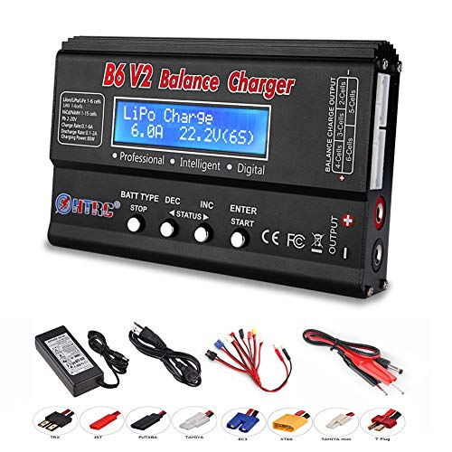 ICQUANZX LiPo Battery Charger, Lipo Charger Discharge Device Balance Battery Charger for LiPo/Li-Ion/Life/LiHV Battery (1-6S), NiMH/NiCd (1-15S), B6V2 80W 6A (Black)