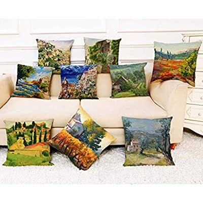 Throw Pillow Cover, DaySeventh Cotton Linen Square Home Decorative Throw Pillow Case Sofa Waist Cushion Cover 18x18 Inch 45x45 cm