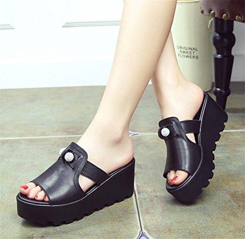 Pantuflas señoras verano moda pendiente gruesa con zapatillas frías tacones altos 2