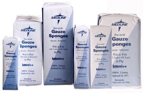 Medline Gauze Sponges - Medline NON25408H Woven Non-Sterile Gauze Sponges (Pack of 200)
