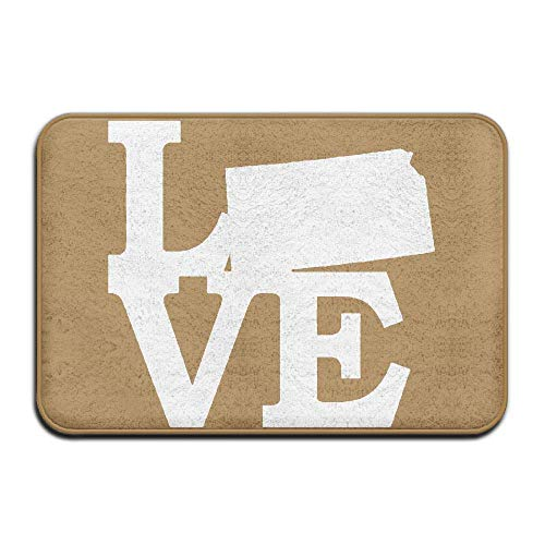 (Non Slip Door Mat Outdoor, Decorative Garden Office Bathroom Door Mat, Hallway Bathroom Love Kansas Map Doormat)