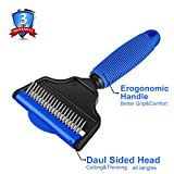 UUDCZ Grooming Comb, Dematting Tools With 2 Sided Professional Slicker Brush, Undercoat Rake For Long-Haired Dogs, Cats, Breed Pets(Blue)