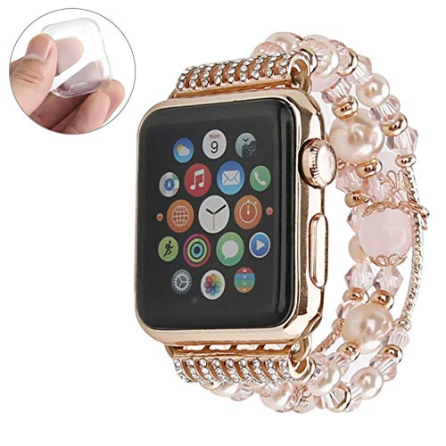 GEMEK Compatible with Apple Watch Band 42mm 44mm Rose Gold Women Agate Pearl Bracelet, Fashion Handmade Elastic Replacement Strap for iWatch Bands Series 3 2 1 Girls Wristband (Pink 42mm)