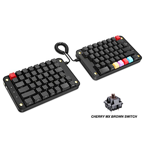 Koolertron Programmable Split Mechanical Keyboard, All 89 Keys Programmable Ergonomic Keypad, 8 Macro Keys - [SMKD62] (Cherry MX Brown Switch)