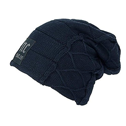 Beanie Mens Casual Hats - HSRT Mens Plus Velvet Thick Warm Knitted Hat Casual Letter Solid Slouchy Beanie HatBlue