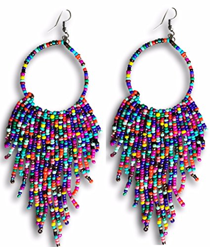 Tribal Dangle Fringe Tassel Bead & Hoop Earrings Native American Style by Pashal (Multi Color) ()