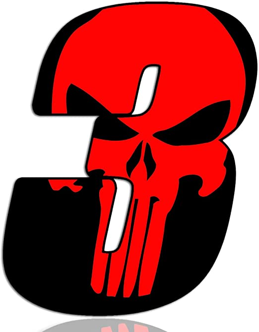 Biomar Labs/® N/úmero 3 Punisher Calavera Vinilo Adhesivo Pegatina Coche Auto Motocross Moto Sport Start Racing Tuning N 353