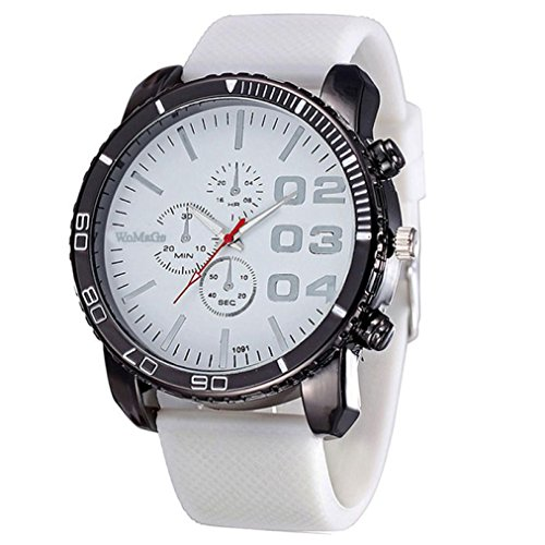 (Pocciol Wristwatch,Mens Stylish Huge Big Dial Silicone Band Quartz Wrist Watch Sports Watch Clock (White))