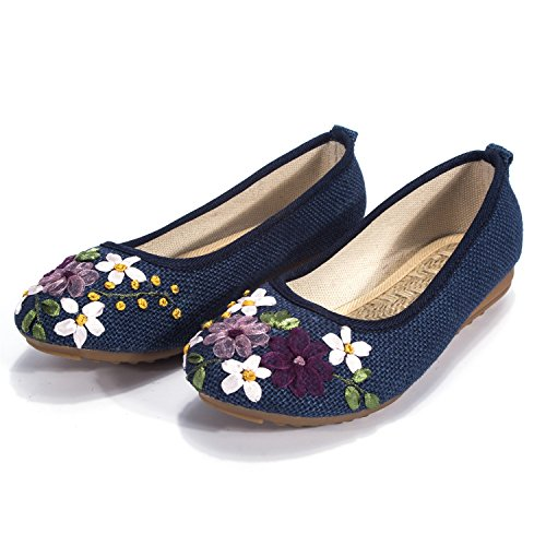 DODOING Embroidered Chinese Style Flats Ballet Embroidery Crafts Comfortable Slip on Women's Shoes Khaki/White/Deep ()