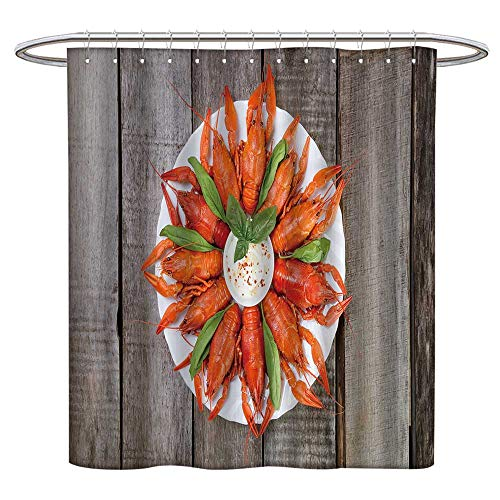 (Jiahonghome Waterproof Mold Shower Curtain plaate re boile Crayfish Herbs White Sauce Side Non Toxic Eco-Friendly No Chemical Odor W 60 x L 72 INCH)