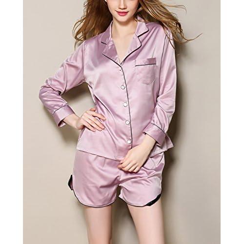 cc8e6445de best Aivtalk - Conjunto de 2 Piezas Ropa de Dormir Pijama de Seda Imitación  Camiseta de