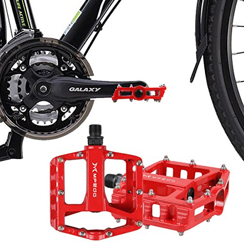 Road Bike Pin (iHomeGarden Mountain Bike Pedals - Aluminum Alloy Cycling Sealed Bearing Flat Platform Pedals with 16 Anti-skid Pins - Lightweight Bike Accessories for Mountain Bike, Road Bike, and Off Road Bike Red)
