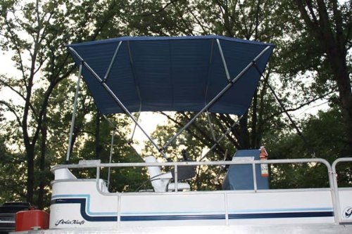 New NAVY BLUE Vortex Pontoon / Deck Boat 4 Bow Bimini Top 10' Long, 91-96'' Wide, 54'' High, Complete Kit, EASY INSTALLATION (FAST SHIPPING - 1 TO 4 BUSINESS DAY DELIVERY)