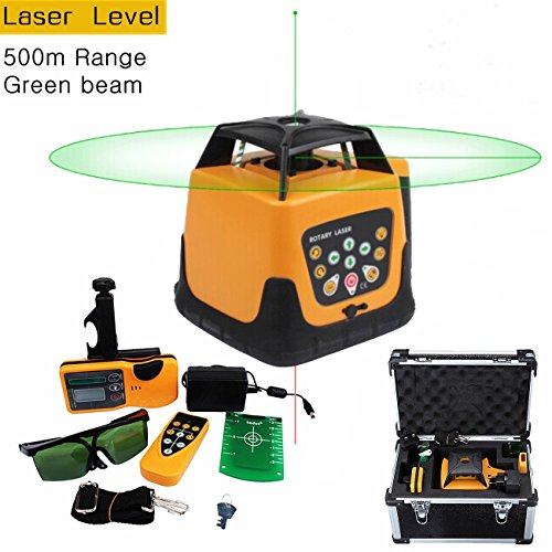 Iglobalbuy Automatic Self-leveling Rotary Laser Level Green Beam 500m Range W/ Remote Control/Staff and Tripod (Rotary Laser)