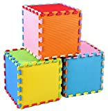 BalanceFrom Kid's Puzzle Exercise Play Mat with EVA Foam Interlocking Tiles, 9 Colors