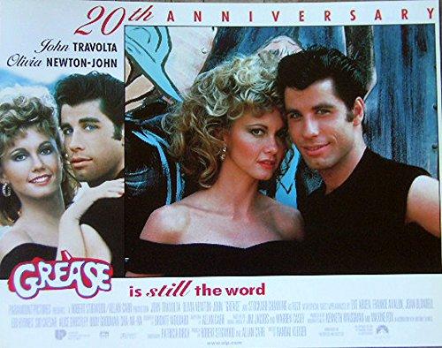Grease (R-1998) Authentic John Travolta, Olivia Newton John 11x14 Lobby Card Movie Poster