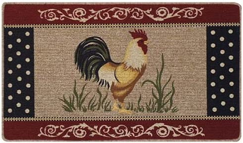 Amazon Com Scarbrough Faire Rooster Kitchen Accent Rug Country Farm Chicken Berber Primitive Floor Throw Mat Furniture Decor