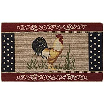 Rooster Kitchen Accent Rug Country Farm Chicken Berber Primitive Floor  Throw Mat