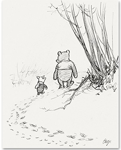 - Walking Away - Winnie The Pooh and Piglet 11x14 Unframed Nursery Art Print