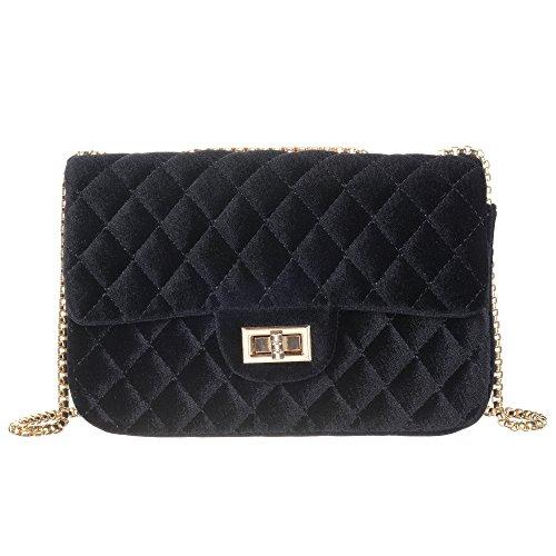Onfashion Women's Classic Quilted Crossbody Bag Velvet Party Bag Shoulder Handbags Purses
