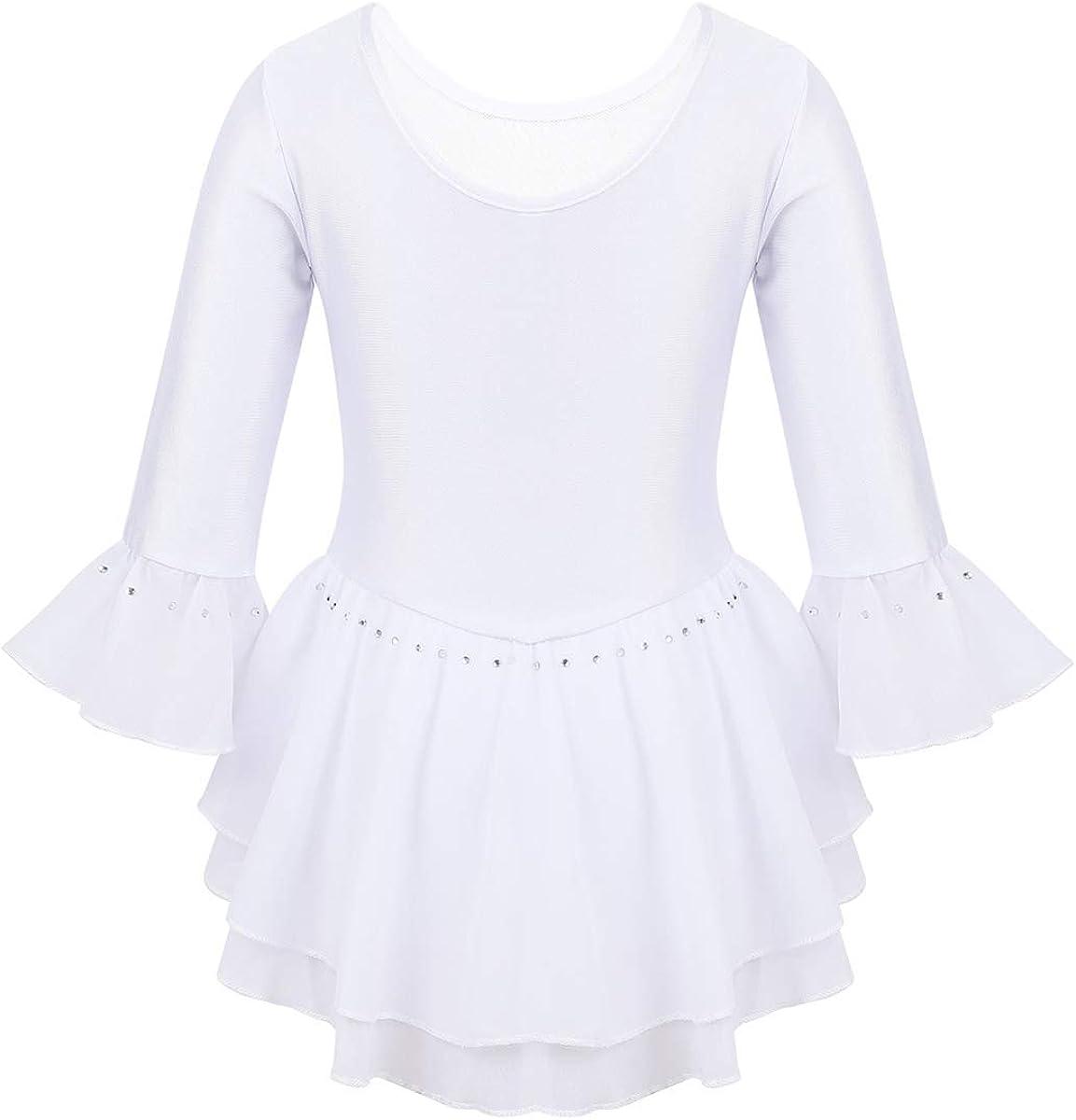 Freebily Vestido de Patinaje Art/ístico Ni/ña Maillot Gimnasia R/ítmica Mangas Largas Leotardo Gimnasia Falda Tut/ú Ballet Disfraz Bailarina de Baile Fiesta Actuaci/ón