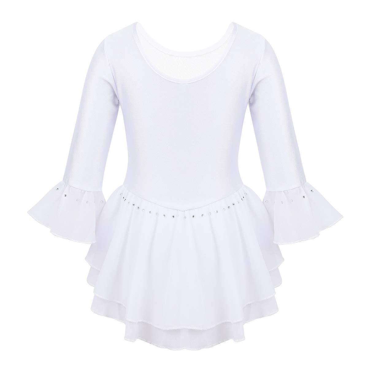 iEFiEL Vestito da Pattinaggio Artistico Bambina Vestito da Balletto Body da Ginnastica Artistica Leotard a Manica Campana Vestito da Ballerina Ragazza Tutu 5-14 Anni