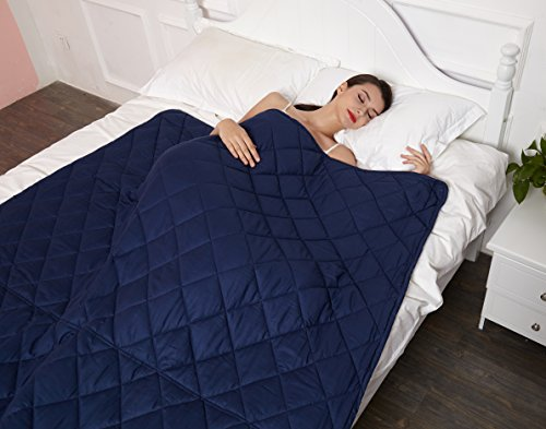 Buy Bargain New Version Weighted Blanket by Hypnoser for Child and Adults,Navy Blue,48x72-20 lbs f...