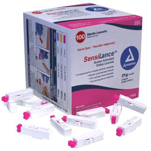 Dynarex SensiLance Safety Lancets Button Activated 21g St 10/100/Cs
