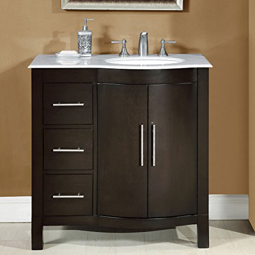 silkroad exclusive carrara white marble top off center single sink bathroom vanity with cabinet 36inch