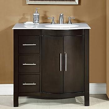 Silkroad Exclusive Carrara White Marble Top Off Center Single Sink Bathroom Vanity