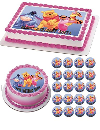 Winnie Pooh 2 Edible Birthday Cake OR Cupcake Topper 325 6 Sheet Inches