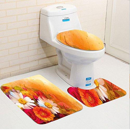 24' Daisy (Keshia Dwete three-piece toilet seat pad customFloral Vivid Flower Bouquet with Roses Daisy Gerbera Blossoms Flourishing Artwork Orange Magenta White)