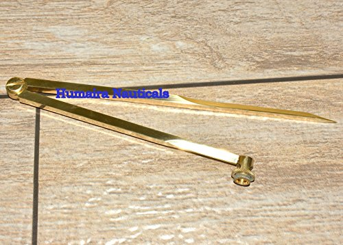 (Antique Solid Brass Pencil Divider Compass 8 Inch)