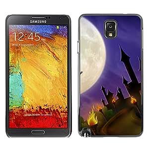 Samsung Note 3 N9000 - Metal de aluminio y de plástico duro Caja del teléfono - Negro - Halloween Creepy Castle