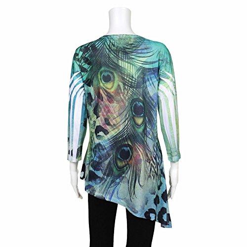 Women's Tunic Top - Abstract Green Peacock Pattern Asymmetrical Shirt - 2X