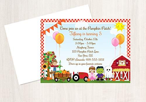 - Pumpkin Patch Invitation, Halloween Invitation, Costume Party Invitation, Halloween Party, Halloween Invite, 25 Invitations with Envelopes, 4x6 Invitation
